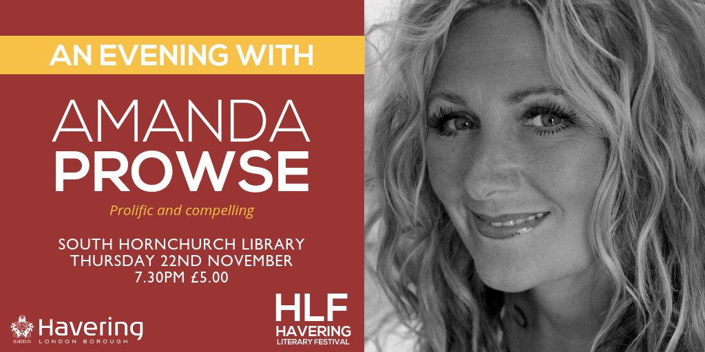 Havering Literary Festival - An Audience with Amanda Prowse - 7.30pm on Thursday 22 November 2018
