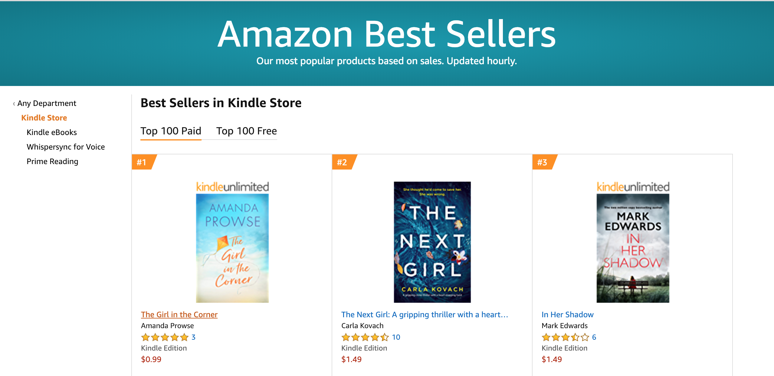 No.1 in Australia and New Zealand for 'The Girl in the Corner'